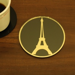 Coaster Black _ Gold Eiffel Tower