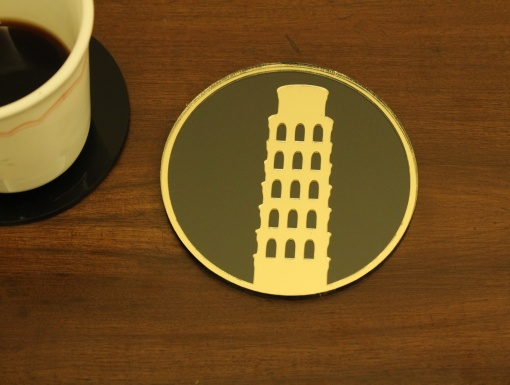 Coaster Black _ Gold Leaning Tower Of Pisa