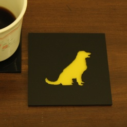 Coaster Black _ Yellow Golden Retriever Dog 1
