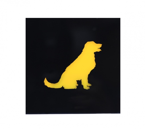 Coaster Black _ Yellow Golden Retriever Dog 3