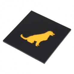 Coaster Black _ Yellow Golden Retriever Dog 4