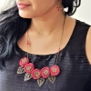 Maroon Fabric Flower Necklace set