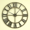 Big Clock 23 inches Roman Black Antique Bronze
